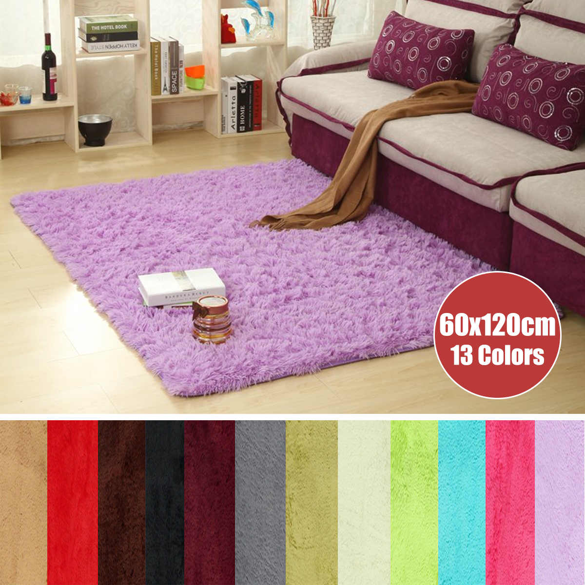 23.62x47.2u0027u0027 13 Colors Fluffy Rectangle Floor Rug Anti Skid Shaggy