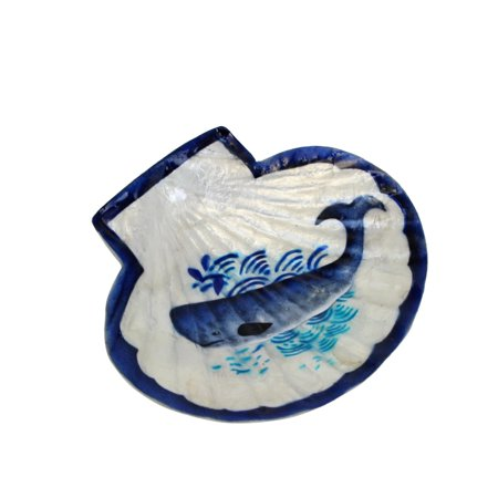 Beachcombers Scallop With Whale Design Capiz Shell Trinket Dish 5.5 (Scallop Shell Dish)