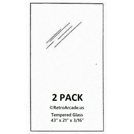 2 Pack Replacement pinball top glass 21 x 43 x 0.185 inch, Fits Williams, Stern, Bally, Midway, Game, Plan, Capcom, Data East