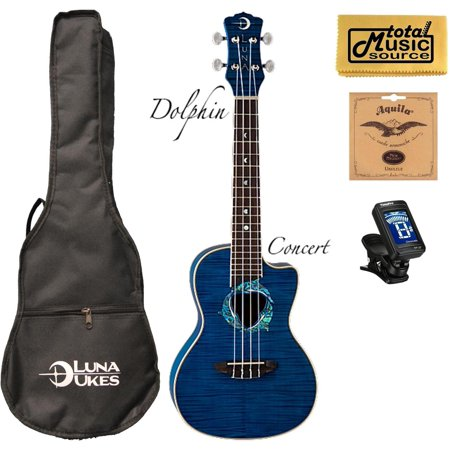 Fauna Series Dolphin (Luna Fauna Series Dolphin Quilted Maple Concert UkE w/Strings,Tuner &PC, UKE DPN COMP )