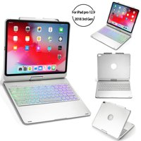 iPad Pro 2018 12.9 Inch Keyboard Case Ultra Slim Hard Shell Folio Stand Smart Cover with Multicolor Backlit Wireless Bluetooth Keyboard Smart Sleep Wireless Tablet Case Silvery By Codream