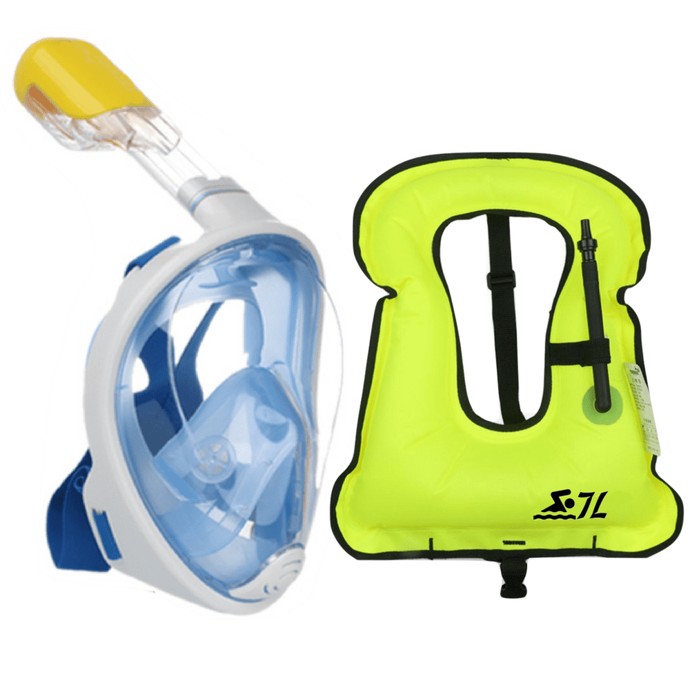 Click here to buy New and Improved Design Full Face Snorkel Mask and Vest Set for Snorkeling Diving Swimming, Adult Size.