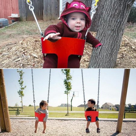 Clearance! High Back Full Bucket Toddler Swing Seat with Plastic Coated Chains Swing Set Accessories Outdoor Kids Toys Fully (Plastic Sewing)