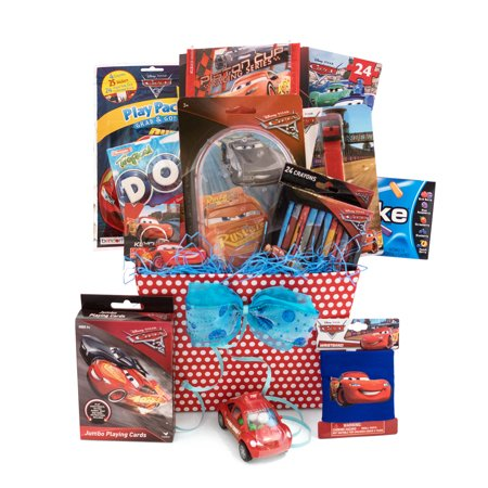 Basket Gift Ideas (Gift Idea for Boys and Girls Ages 3 - 8 Boys Disney/Pixar Cars Themed 9 Items in 1)