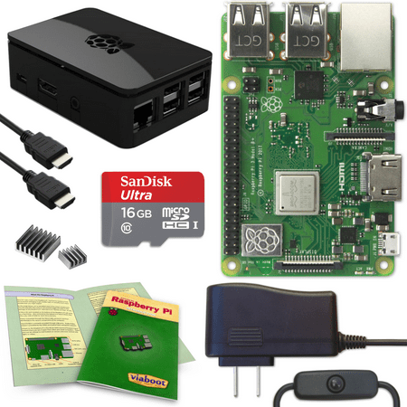 Viaboot Raspberry Pi 3 B+ Complete Kit with Premium Black Case](raspberry pi electronics starter kit)