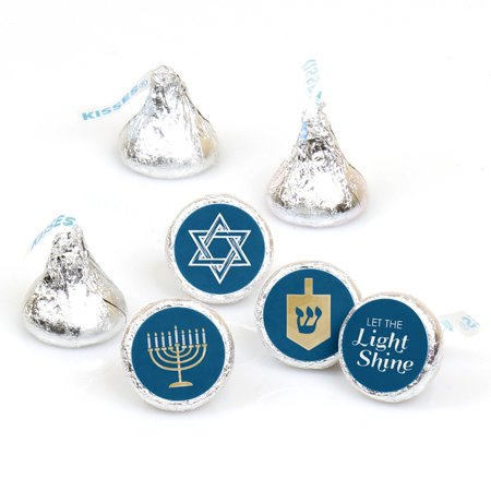 Happy Hanukkah - Chanukah Party Round Candy Sticker Favors - Labels Fit Hershey