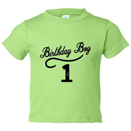 "- Boys 1 Year Old ""Birthday Boy 1"" Toddler Shirt - Funny Threadz Kids, Green, 12 Month"
