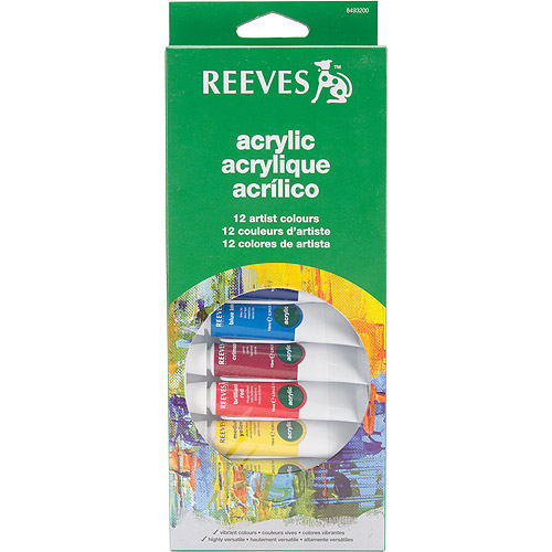 Reeves Assorted Colors Acrylic Paint Set, 12Pk