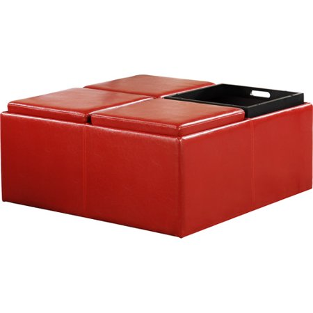 Cocktail Storage Ottoman with 4 Trays, Red Faux Leather - Cocktail Storage Ottoman With 4 Trays, Red Faux Leather - Walmart.com