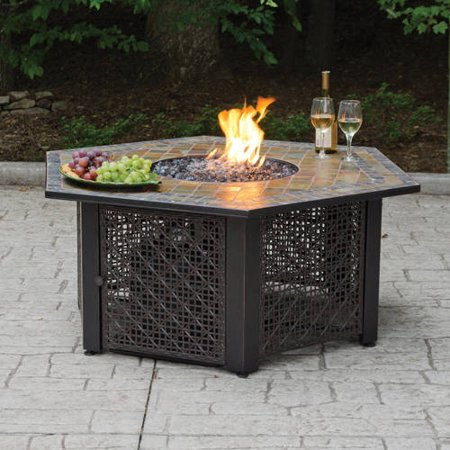 Hex Lp Gas Fire Pit Bowl With Slate Tile Mantel Walmart Com