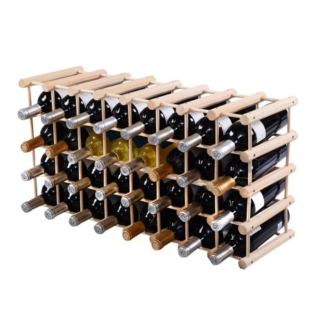 costway wood wine rack stackable storage storage display shelves 40 bottle. Black Bedroom Furniture Sets. Home Design Ideas