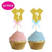 Gender Reveal Baking | Gender Reveal Cupcake Toppers | 32-PACK | Gender Reveal Baby Shower Party Decor | Gold Gender Reveal Decor | Girl or Boy?