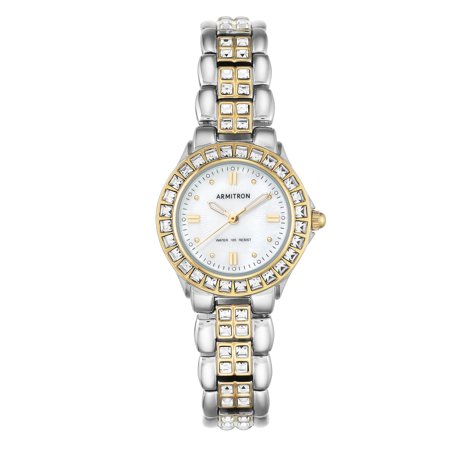 Mother Of Pearl Silver Wrist Watch - Ladies' Armitron Mother-of-Pearl Dress Watch, Two-Tone