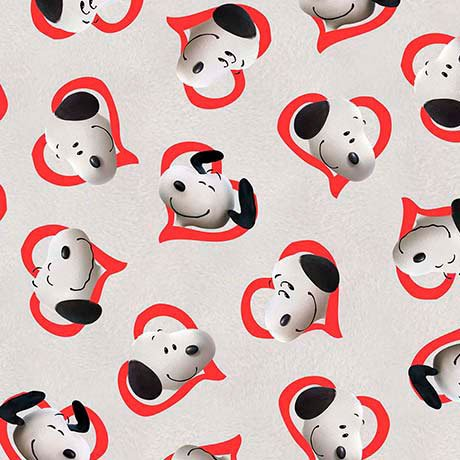 Good Friends~Peanuts Snoopy Hearts Cotton Fabric by Quilting Treasues