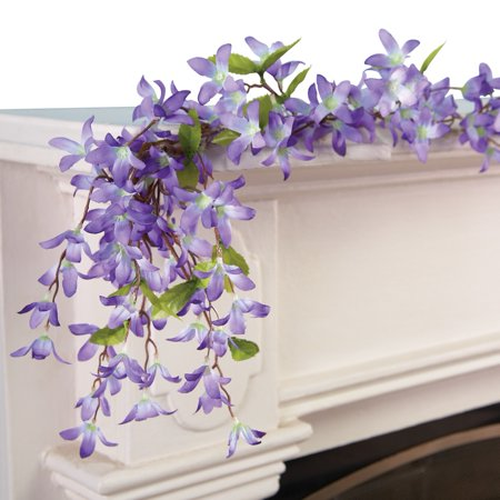 Collections Etc Spring Floral Forsythia Garland LAVENDER Floral Collection Rose