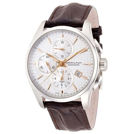 Hamilton H32596551 Men's Jazzmaster Silver Dial Brown Leather Strap Chronograph Automatic Watch