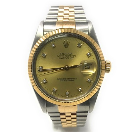 Rolex Datejust 16013 Champagne Diamond dial and 18kt Yellow Gold Fluted Bezel (Certified Pre-Owned)