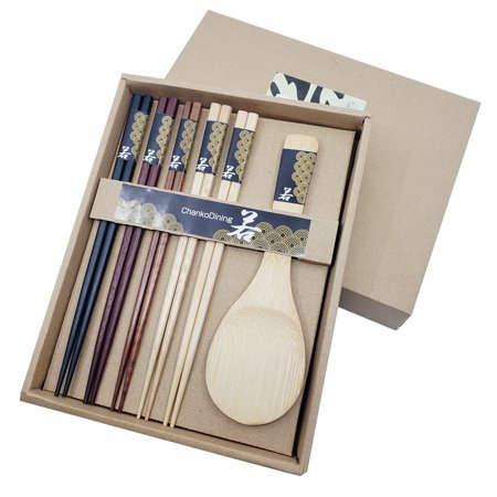 The Elixir Eco Green Assorted Color Natural Wood Bamboo Reusable (5) Chopsticks & (1) Rice Paddle Set in Gift Box