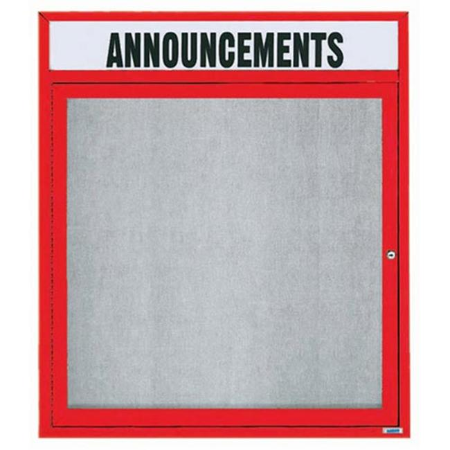 Aarco Products ODCC3630RHIR 1-Door Illuminated Outdoor Enclosed Bulletin Board with Header - Red