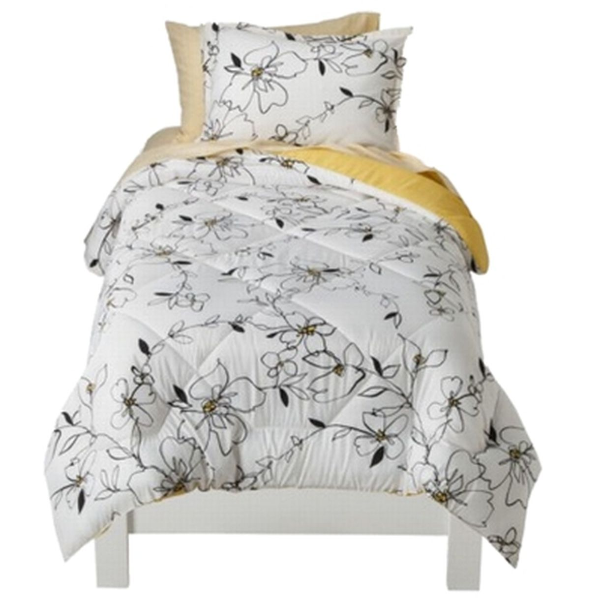 Floral Twin XL Bed in Bag Yellow Black & White Comforter Set Sheets Shams 5 pc