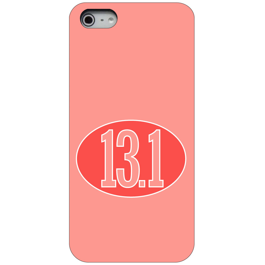 CUSTOM Black Hard Plastic Snap-On Case for Apple iPhone 5 / 5S / SE - Red 13.1 Oval Half Marathon Run