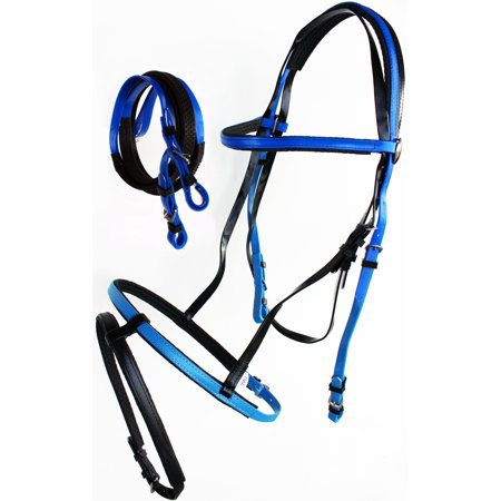 Endurance Bridle - Horse English Endurance Flash Noseband Biothane Bridle w/ Rubber Grip Reins Blue 40HS24