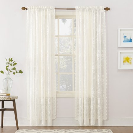 No. 918 Quinn Floral Lace Sheer Rod Pocket Curtain Panel ()