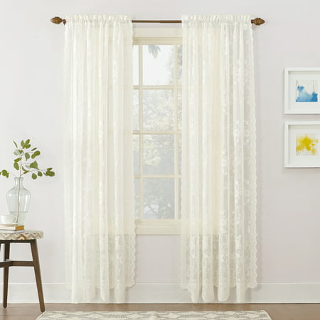 No. 918 Quinn Floral Lace Sheer Rod Pocket Curtain Panel - Ivory Lined Curtains