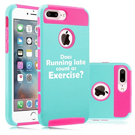For Apple (iPhone 8 Plus) Shockproof Impact Hard Soft Case Cover Funny Does Running Late Count As Exercise (Light Blue-Hot Pink)