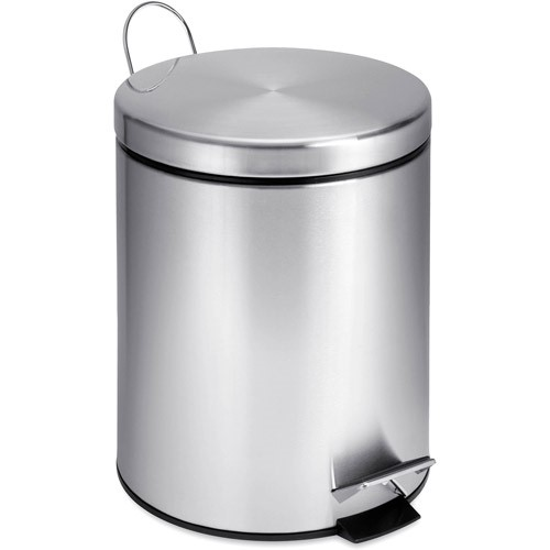 Honey Can Do 1.3 Gallon Round Step Trash Can, Stainless Steel by Honey Can Do