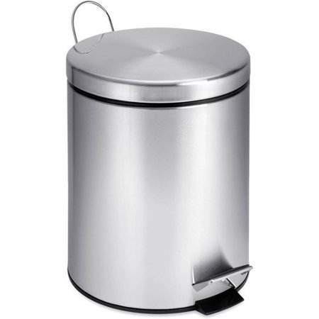 Honey Can Do 1.3 Gallon Round Step Trash Can, Stainless Steel ()
