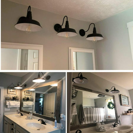 110V Outdoor Indoor Retro Vintage Industrial Barn Edison Loft Light Metal Wall Sconce Chandelier Lamp Fixture Gooseneck For Kitchen Farmhouse Bar Garden Garage Warehouse (Outdoor Lights For The House)