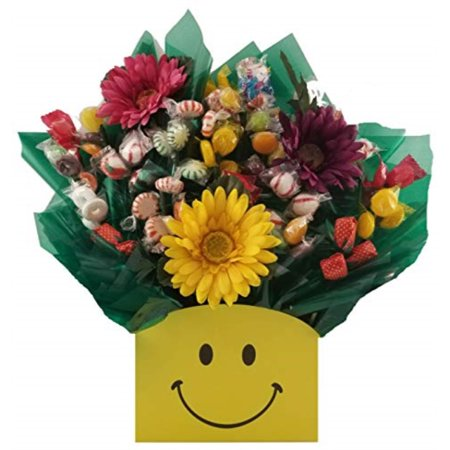 hard candy bouquet gift box - great as a thanksgiving, christmas, birthday, thank you, get well soon, congratulations gift for any occasion (smiley face gift box)