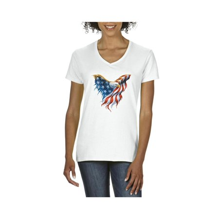 Eagle V-neck - Eagle USA Flag 4th of July Women's V-Neck T-Shirt Tee Clothes