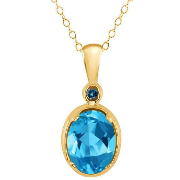 1.51 Ct Oval Swiss Blue Topaz and Blue Diamond 14k Yellow Gold Pendant