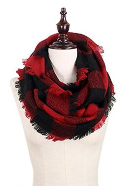 StylesILove Plaid Lovers Collection Womens Infinity Scarf (Buffalo Plaid Red)