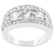 Sunrise Wholesale J2186 White Gold Rhodium Bonded Seven Stone Anniversary Illumination Ring - Size 09