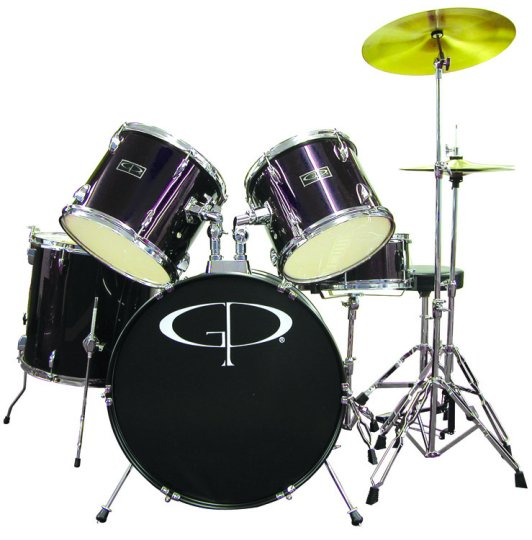 "Gp Percussion ""player"" 5 Piece Full Size Drum Set"