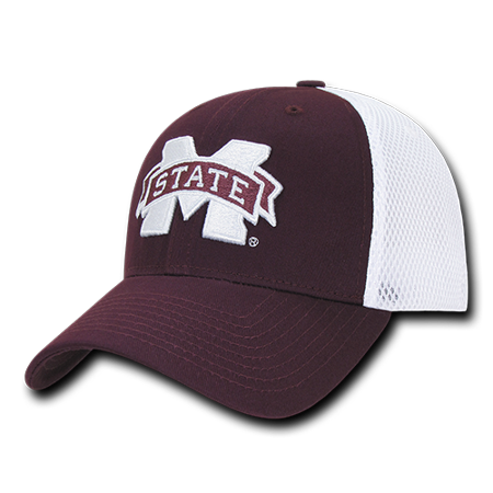 NCAA MSU Mississippi State U Bulldogs Structured Mesh Flex Baseball Caps Hats - Msu Bulldogs
