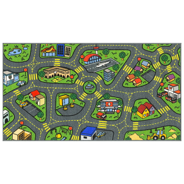 "Jungtier Fun Time Retro City Traffic Car Road Map Educational Learning & Game Area Rug Carpet for Kids and Children Bedrooms and Playroom, 2' 7"" x 5' 0"""