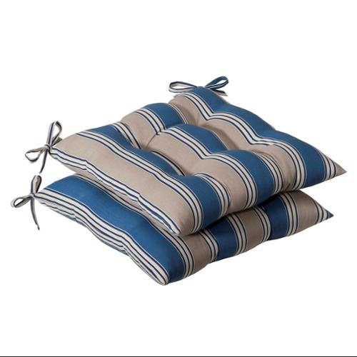 Pack of 2 Outdoor Patio Furniture Tufted Chair Seat Cushions - Blue & Tan Stripe