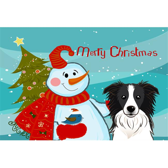 Carolines Treasures BB1861PLMT Snowman With Border Collie Fabric Placemat