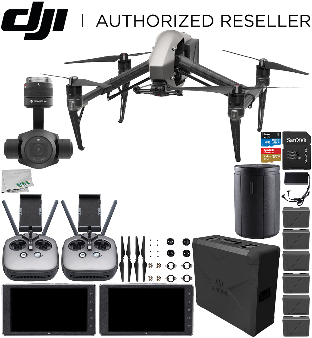 Dji Inspire 2 Quadcopter With Zenmuse X4s And 2x Crystalsky 55 High Brightness Monitor Bundle Extra Remote Controller