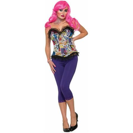 Adult's Womens Colorful Pop Art Comic Print Corset Costume Accessory - Pop Art Comic Costume