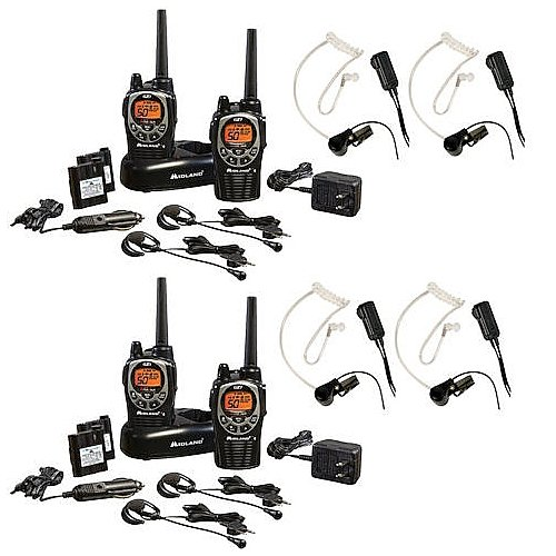 Midland 3 2-Way Radio Value Pack with 2 Midland Transparent Security Headsets by