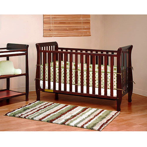 Athena Naomi 4-in-1 Convertible Crib with Toddler Rail, Cherry