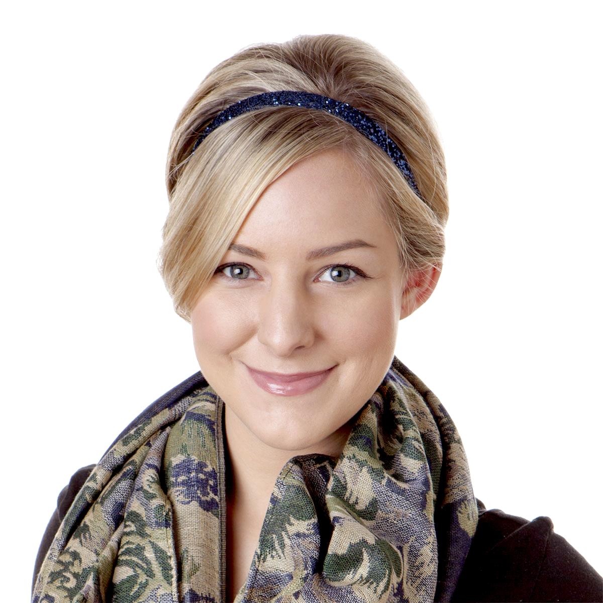Hipsy Women's Adjustable NO SLIP Skinny Bling Glitter Headband (Navy Blue)