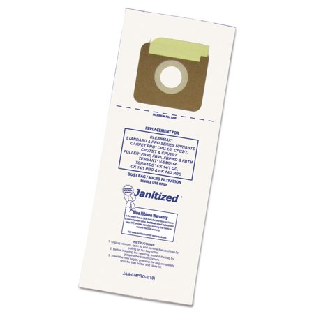 - Janitized Vacuum Filter Bags Designed to Fit Carpet Pro/CleanMax/Fuller/Tennant, 100/CT