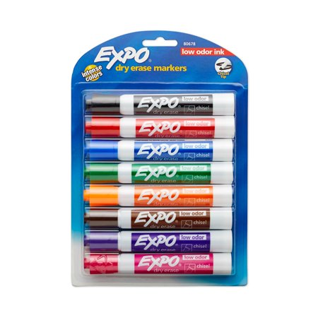 Dry Erase Material (EXPO Low Odor Dry Erase Markers, Chisel Tip, Assorted Colors, 8)