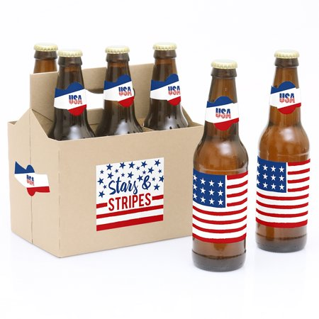 Stars & Stripes - Memorial Day Patriotic Party Decorations for Women and Men - 6 Beer Bottle Label Stickers and 1](Stars For Decorations)